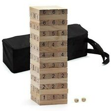54-Piece Solid Wood Giant Tumbling Timbers. Outdoor Wood Block Stacking Game New