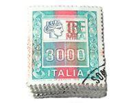 Lotto 100 Francobolli Alti Valori da 3000 Lire Mazzetta da 100 Senza Frammento
