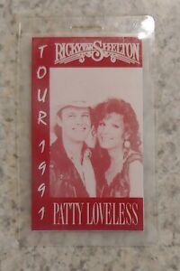 1991 RICKY VAN SHELTON & PATTY LOVELESS Laminated BACKSTAGE PASS RedMan Tobacco