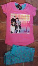 New girls JLS 100% cotton short sleeve pajamas pink/turquoise 6-7 years
