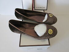 Coach Noel Shoes Flats Slip on, Brown Velvet Ballets 6.5 M, Signature C, Q255