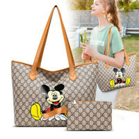 Fashion Women Leather Tote Purse Shoulder Bag Cartoon Mickey Handbag with Wallet