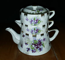 Vintage Kelvin Fine China Stacked Teapot Stacking Japan Beautiful Purple Flowers