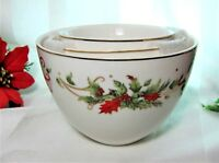3 Christmas Grace's Teaware Porcelain Nesting Bowls Holly Berries Gold Accents