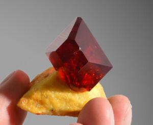 Ruby red Pruskite crystal on matrix from Poland deep red like rhodonite, realgar