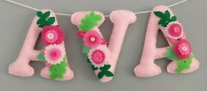 PERSONALISED GIRLS NAME BUNTING/BANNER HANGING FLORAL ANY COLOURS £2.50 A LETTER
