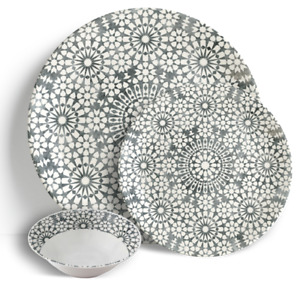 "Roma Pebble - 18 Piece Dinner Set 10.5"" Plates 7.5"" Side Plates 7"" Bowls"
