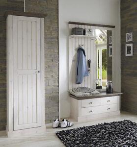 Steens Garderobe Monaco Set Massivholz White-Wash Stone Landhausstil
