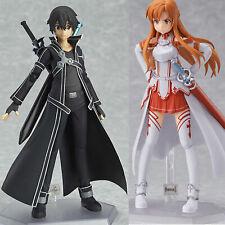2Pcs Sword Art Online SAO Asuna Kirito PVC Action Figure Figma Figurine Toy