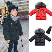 Kids Baby Girls Boys Coat Parka Winter Warm Outwear Hooded Down Jacket Coats