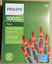 100 COUNT RED MINI CHRISTMAS / VALENTINES LIGHTS on green wire PHILIPS