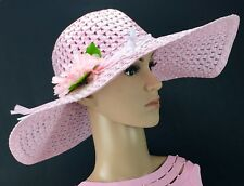 Elegant Women s Lg Floppy Hat W Flower- Vacation Festival Summer Beach Straw  Hat d3cf79302a2e