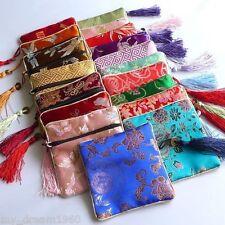 WHOLESALE 100pcs Silk Bags Brocade Wallet Pouch Case Purse Zipper Tassel Bags