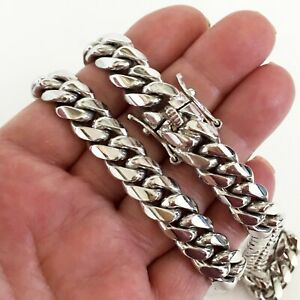 """12 mm gold plated solid handmade Miami Cuban link sterling silver chain 30"""""""
