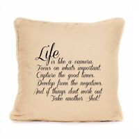 Life Is Like A Camera Inspirational Quote Gift For Photographer Cushion