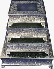 "GiftBay 751-14/22S (S/4) Wedding Cake Stand Square 22"",18"",16"" & 14"", Silver"