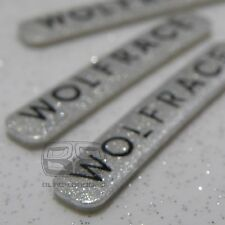 ALLOY WHEEL RIM LIP EDGE BADGES SET BADGE WOLFRACE SPARKLE SILVER STICKER 34mm