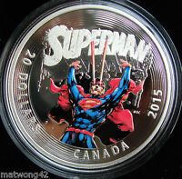 2015 Canada 1 oz. Fine Silver Coloured Coin Iconic Superman Comic Book Covers
