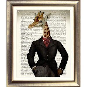 DICTIONARY ART PRINT ON ANTIQUE BOOK PAGE Giraffe Old Picture ANIMAL Steampunk