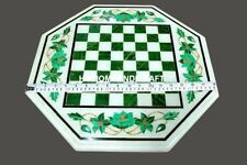 18'' Malachite Floral Marble Chess Table Top Unique Bedroom Inlay Decorate M231