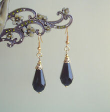 Black Faceted Teardrop Antique Gold Plated Short Drop Earrings ~ Victoriana