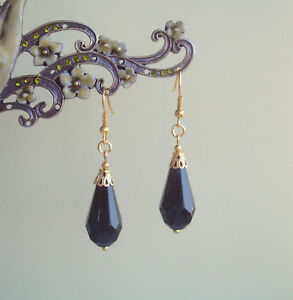Black Faceted Teardrop Antique Gold Plated Short Drop Earrings - Victoriana
