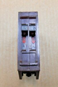 1 WADSWORTH B1515NI TWIN CIRCUIT BREAKER 15A 15 AMP 240V  METAL CLIPS (16 AVAIL)