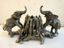 Vintage Old Collectible Hand Crafted Metal Elephant Figure Candle Stande Holder