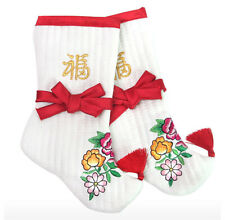 Beoseon, Traditional Korean Socks, Girl Baby Red Socks, Flower Embroidery