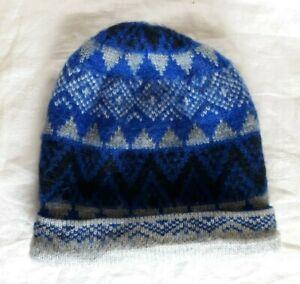Andes Gifts Alpaca Blend Beanie Hat Blue/Black/Gray Geometric--Made in Peru