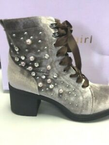 Madden Girl Ankle Shoes Boots  Dressy Studs Crystal Velvet Brown New size 10