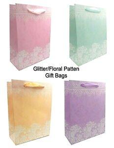 Glitter Gift Bags, High Quality (6 Pack) Birthdays, Weddings, Celebration Bags