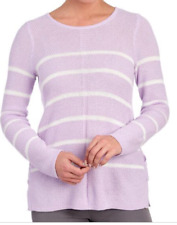 New Design 365 Striped Lace Up Side Sweater Lilac Purple White Xl Knit NWT r$108