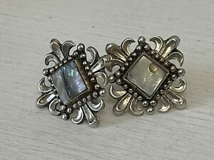 Vintage Sterling Silver Abalone Cufflinks Mexico Artist Signed ERR