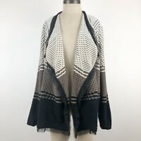 Easywear by Chicos 3 or XL Cardigan Sweater Womens Open Front Draped Lace Trim