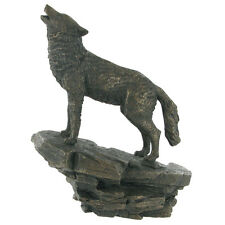 BEAUTIFUL COLD CAST BRONZE HOWLING WOLF STATUE FIGURINE FIGUIRE NEW & BOXED