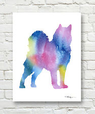 ALASKAN MALAMUTE Contemporary Watercolor ART Print by Artist DJR