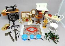 Vintage Dollhouse Accessories Lot Sewing Machine Clock Dollhouse Miniature 1:12
