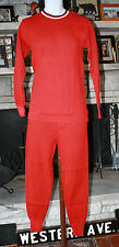 VTG Red Thermal Knit Cotton Pajamas by Campus ~ NOS ~ 2 Pc. Long Johns  ~ C
