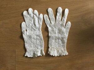 Vintage Ladies White Cotton Crochet Gloves Size Small