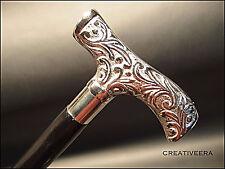 Vintage Antique Style Silver Brass, Black Wood Victorian Walking Stick Cane