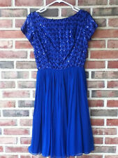 1950s Blue Sequined GATSBY Cocktail Formal Sweetheart Dress Sz Sm Union Vintage