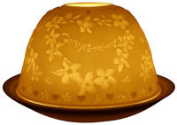 Light-Glow Forget-Me-Not Tealight Candle Holder Tea Light Dome Ceramic Boxed
