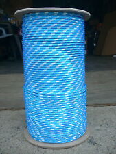 """Sailboat Rigging Rope 3/16"""" x 100' Blue/White Double Braided Sheet Halyard Line"""
