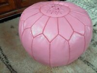 MOROCCAN CANDY PINK HAND STITCHED LEATHER POUFFE