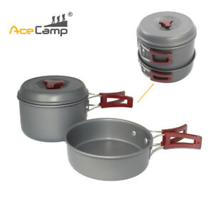 1set AceCamp Cookware 150mm Aluminum Frying Pan 150mm 0.75L Pot /w Mesh Bag