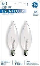 GE Lighting 76236 40 Watt Clear Candelabra Incandescent Light Bulb 2 Count