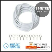 HomeElabador 2M 3M 4M 5M WHITE CURTAIN WIRE CORD CABLE WITH FREE HOOK AND EYE FITTINGS 1 meter
