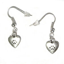 Mini Puppy or Kitty Paws in Hearts Silver Plated French Hook Earrings