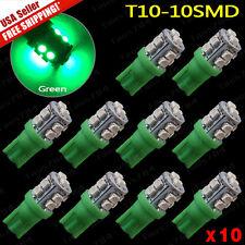 10PCS Vivid Green T10 Wedge 10 SMD LED Interior Light W5W 2825 158 192 168 194